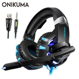 ONIKUMA K2Pro Stereo Headphone with Microphone In-Line Control LED for PC PS4 Xbox One