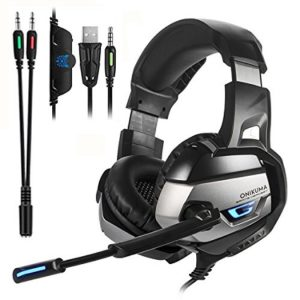 ONIKUMA K5- Gaming Headset for PS4, Xbox One, Nintendo Switch, PC. Over Ear Gaming Headset with 7.1 Stereo Surround Sound, LED Lights, Noise Canceling and Microphone