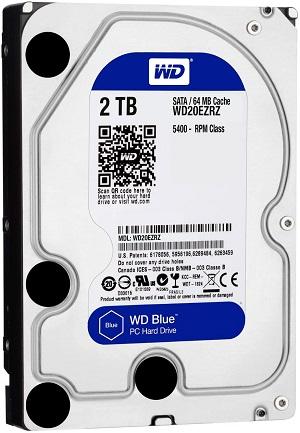 WD 2TB Desktop Hard Disk Drive Blue 5400 RPM SATA 6 GB/S 64MB WD20EZRZ