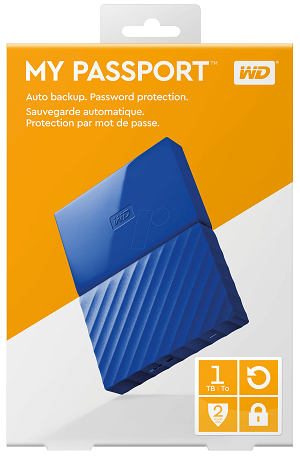 WD 1TB My Passport Portable External Hard Drive USB 3.0 - Blue