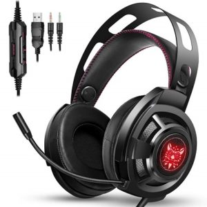 ONIKUMA M190Pro Stereo Gaming Headset 2.0m Cable LED Light Bass Over-ear Headphones with Mic for Computer Game